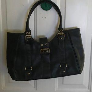 Tommy Hilfiger black leather satchel